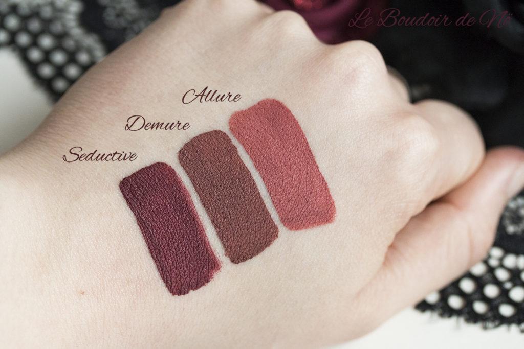 Girlactik Beauty Matte Lip Paints Swatches : Seductive, Demure, Allure