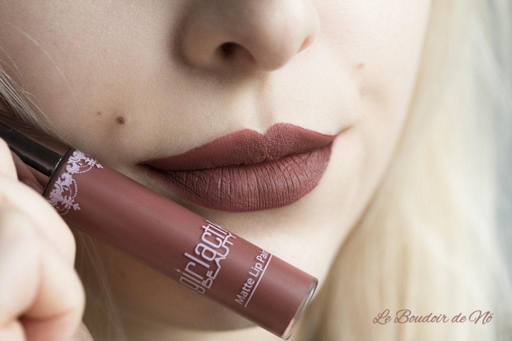 Girlactik Beauty Matte Lip Paints Demure Swatch
