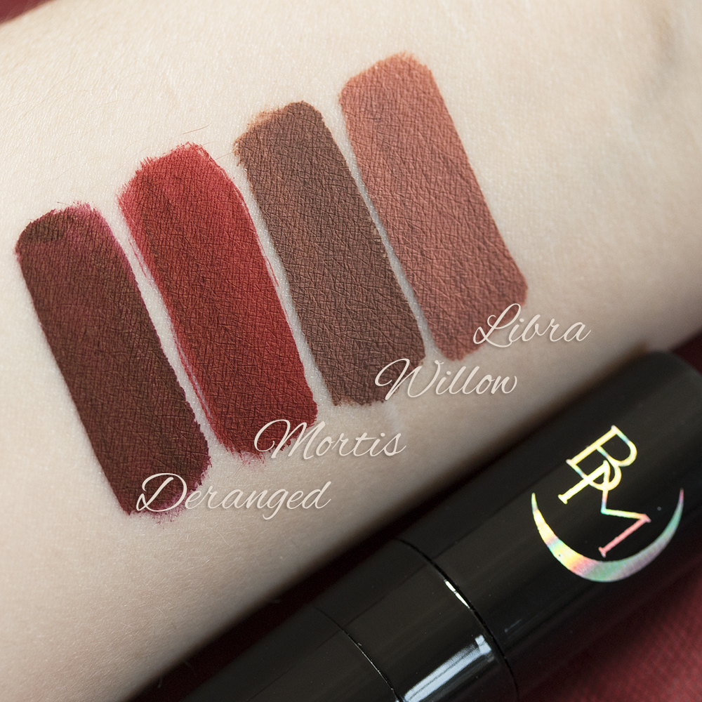 Revue Black Moon Cosmetics Liquid to Mattes, swatchs, avis, swatches, Deranged, Libra, Willow, Mortis