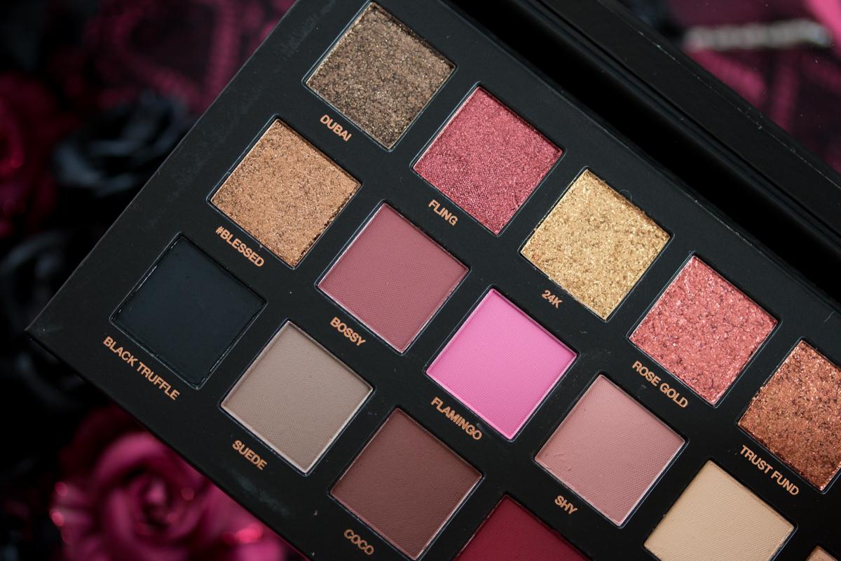 Huda Beauty Rose Gold Palette revue, swatchs, comparaison