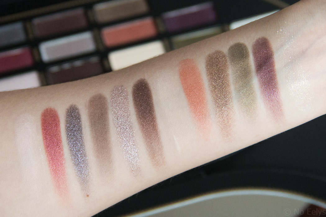 Photo des Swatches de la palette Saint + Sinner de Kat Von D, revue par Nö Eelys Absolution, Worship, Immaculate, Chalice, Sacred Heart, Amen, Sanctuary, Heaven, Crucifix, Cathedral, Rosary, Baptism