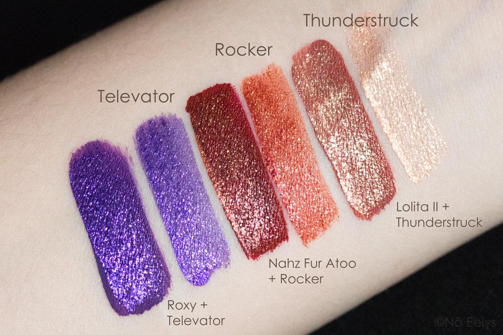 Swatchs des Glimmer Veils KVD beauty : Televator, Rocker, Thunderstruck