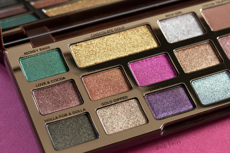Swatchs Chocolate Gold Too Faced : mon avis sur la palette (Money BAgs, Chocolate Gold, Love & Cocoa, Old Money, New Money, Holla for a Dolla, Gold Dipped, Livin Lavish, Drippin Diamonds)