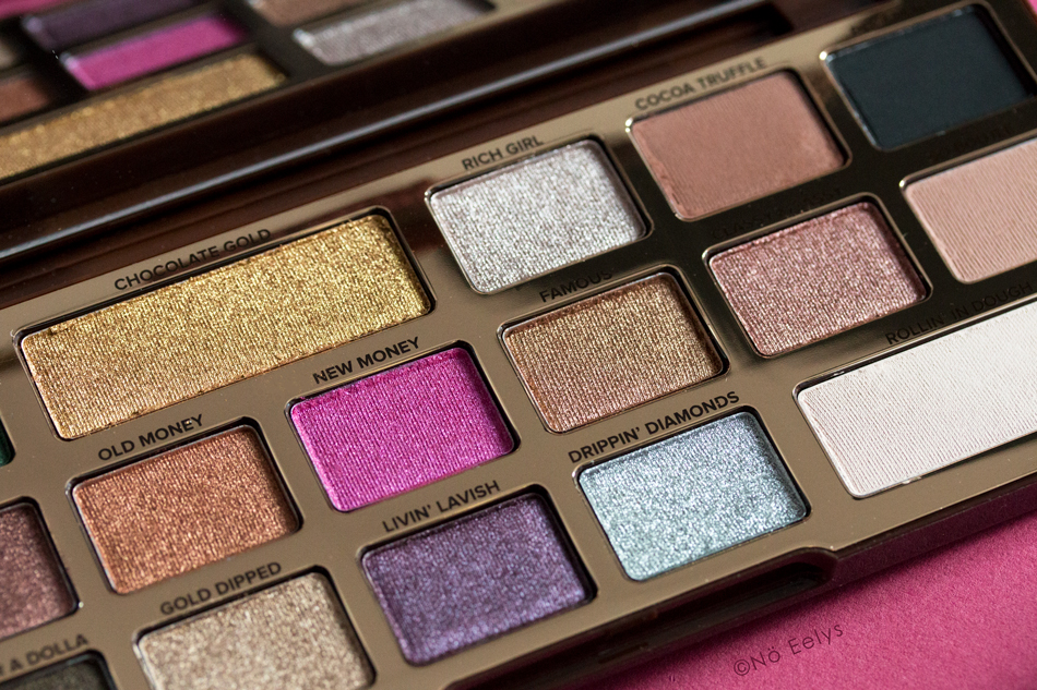 Swatchs Chocolate Gold Too Faced : mon avis sur la palette (Chocolate Gold, Rich Girl, Old money, New Money, Famous, Livin Lavish, Drippin Diamonds)