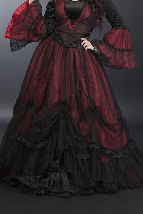 Jupe Artemia Sinister rouge : jupe longue gothique romantique
