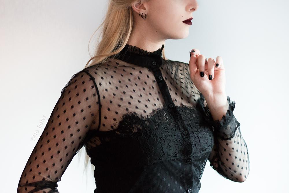 Chemisier en dentelle et plumetis Morgan, inspiration mode gothique romantique / Corporate Goth