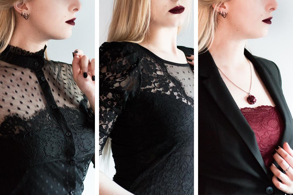 Haul Morgan Le Boudoir de Nö (blog alternatif) : petits hauts en dentelle inspiration gothique romantique/corporate goth