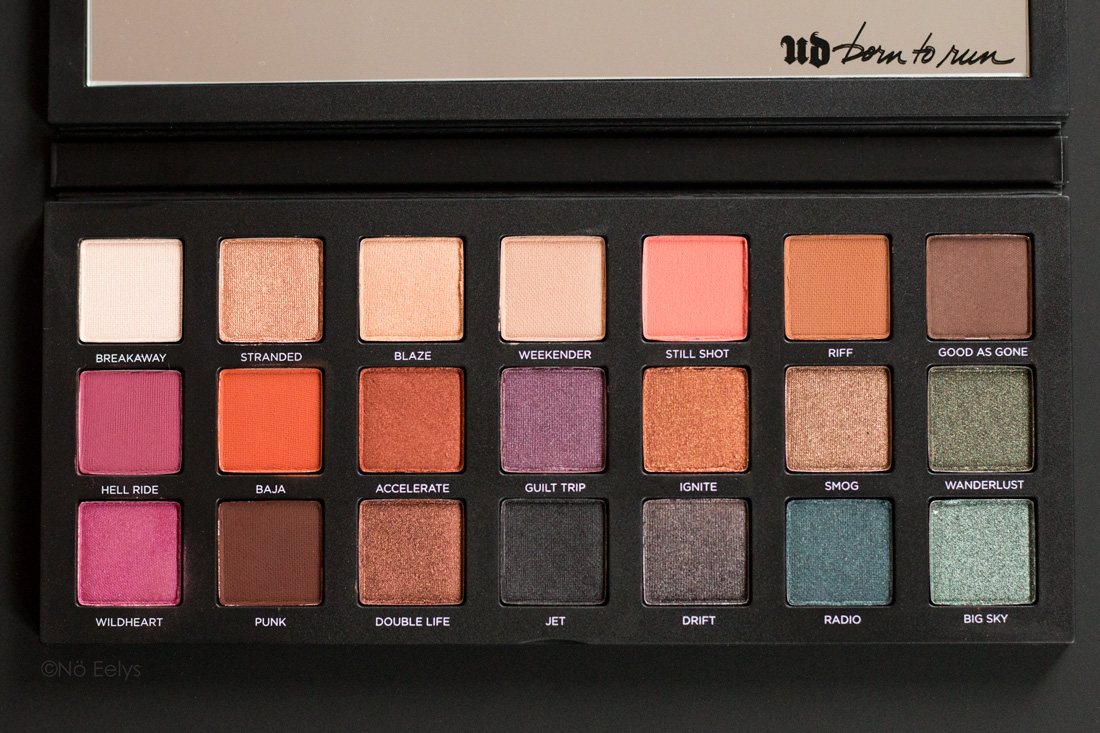 La palette Born to Run Urban Decay : swatchs