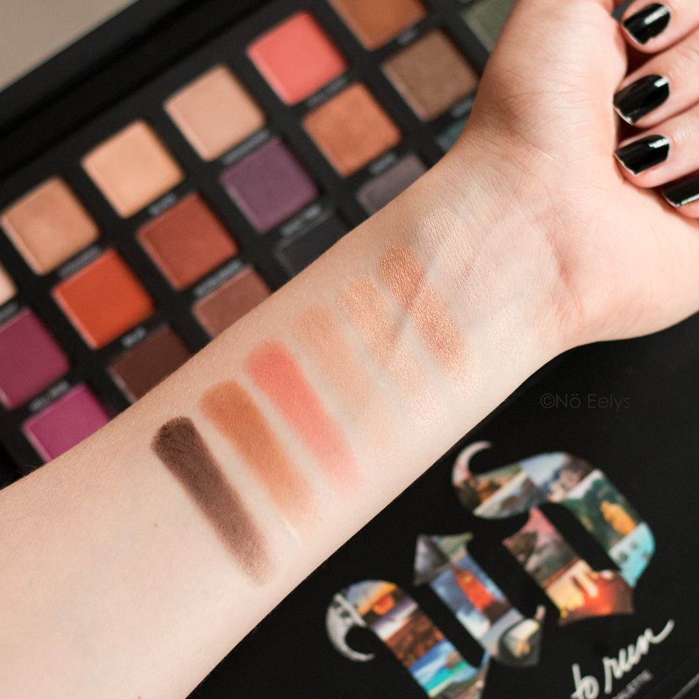 Urban Decay Born to Run swatches Breakaway, Stranded, Blaze, Weekender , Still Shot, Riff, Good as Gone