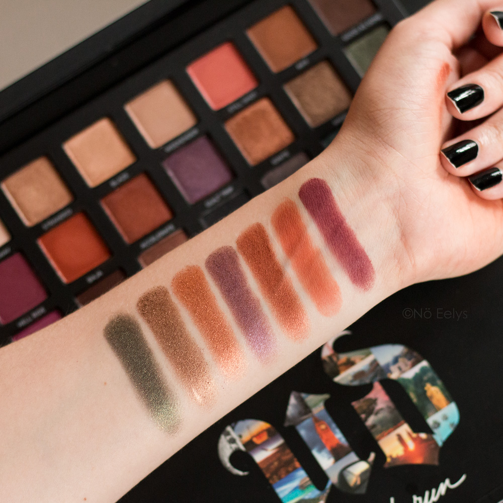 Urban Decay Born to Run swatches : Hell Ride, Baja, Accelerate, Guilt Trip, Ignite, Smog, Wanderlust