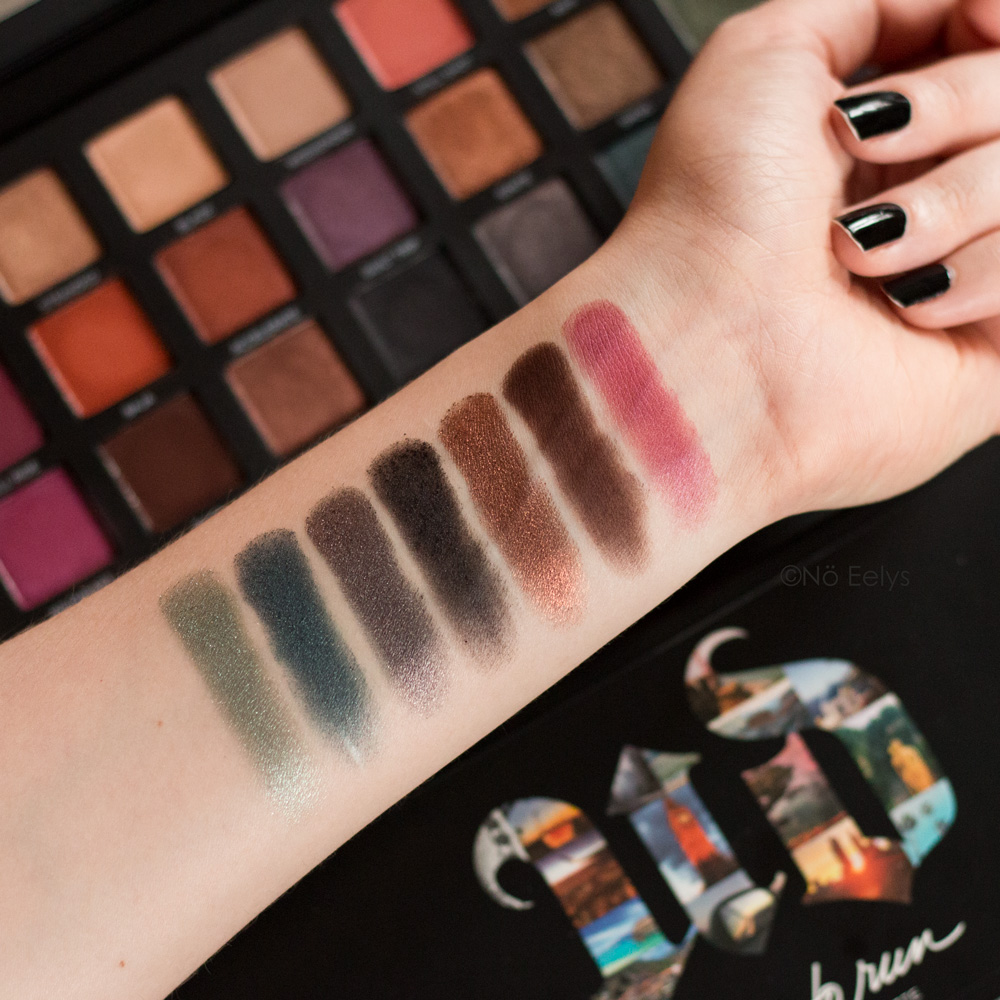 Urban Decay Born to Run swatches : Wildheart, Punk, Double Life, Jet, Drift, Radio, Big Sky