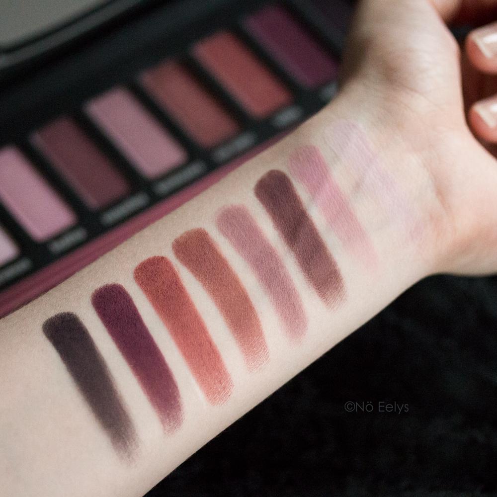 Swatchs sur peau de la palette Lolita Kat Von D beauty : promesa, besitos, recuerdos, hermosura, con amor, lolita, corazon, eterno