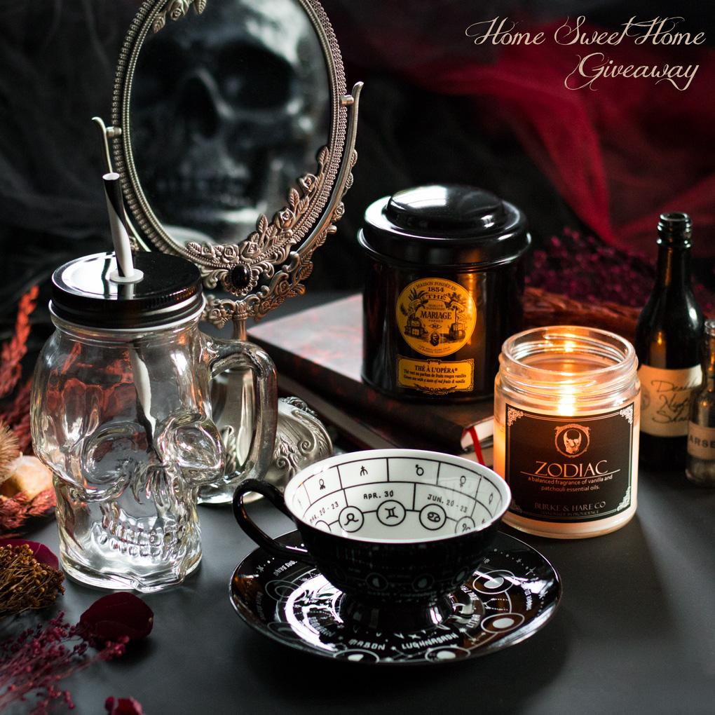 Giveaway d'Automne, Lot 2 Home Sweet Home : Skull Mug Alchemy Gothic, Zodiac candle Burke & Hare Co, Thé à l'Opéra Mariage Frères, Cosmic Tea Cup Killstar - concours alternatif gothique Le Boudoir de Nö
