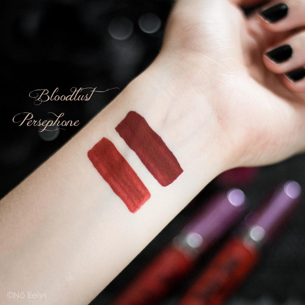 Persephone vs Bloodlust Baby Bat Beauty (My Spooky vanity), swatch et review comparative, maquillage rouges à lèvres rouges alternatifs vegan et cruelty-free par Le Boudoir de Nö Eelys