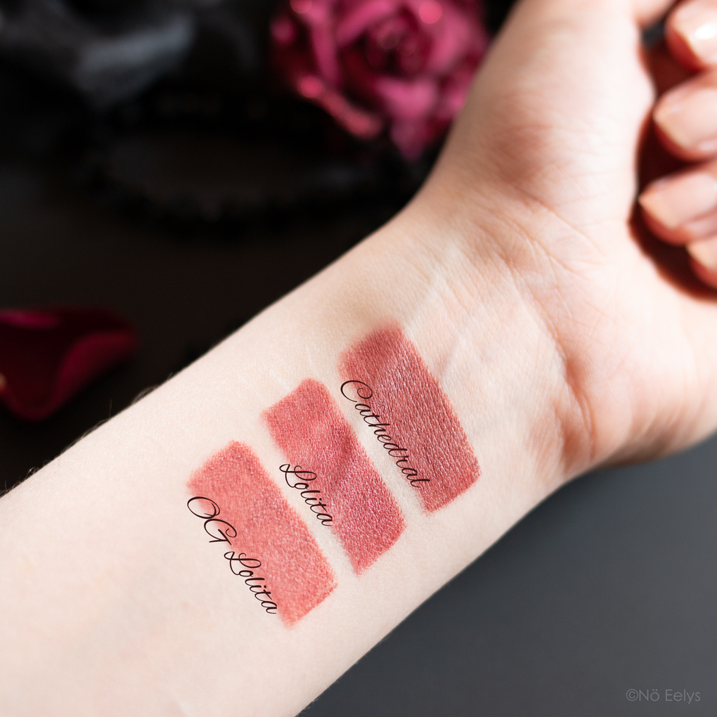 Swatches OG Lolita vs Lolita vs Cathedral Studded Kiss Lipsticks KVD Vegan beauty