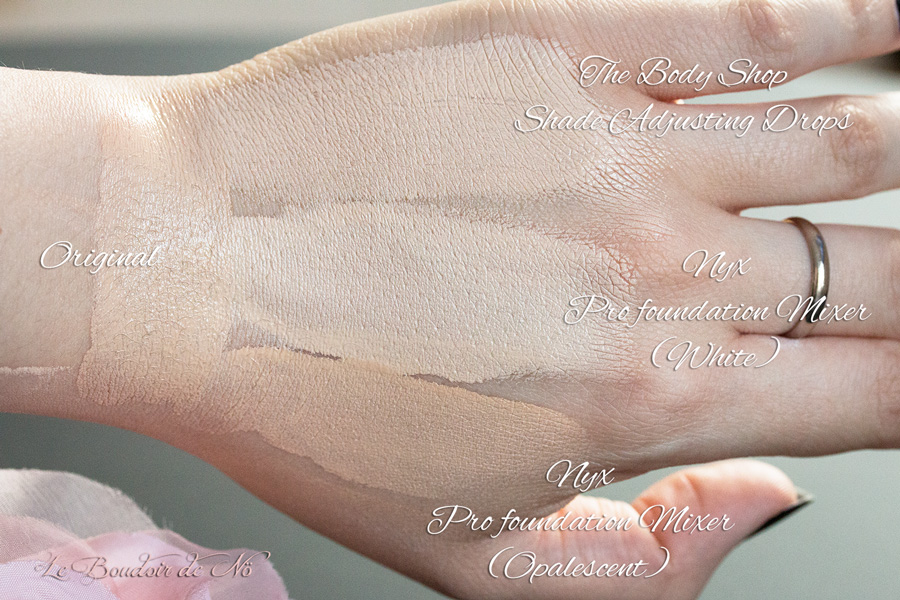 Swatches The Body Shop Shade adjusting drops VS Nyx pro foundation mixer