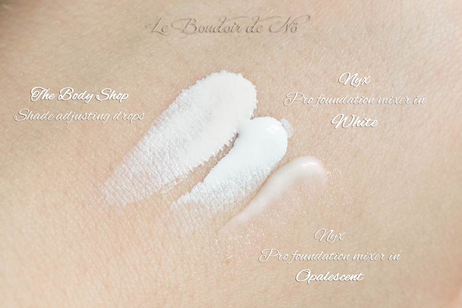 Swatches Nyx Pro Foundation Mixer White and Opalescent, The Body Shop Shade adjusting drops