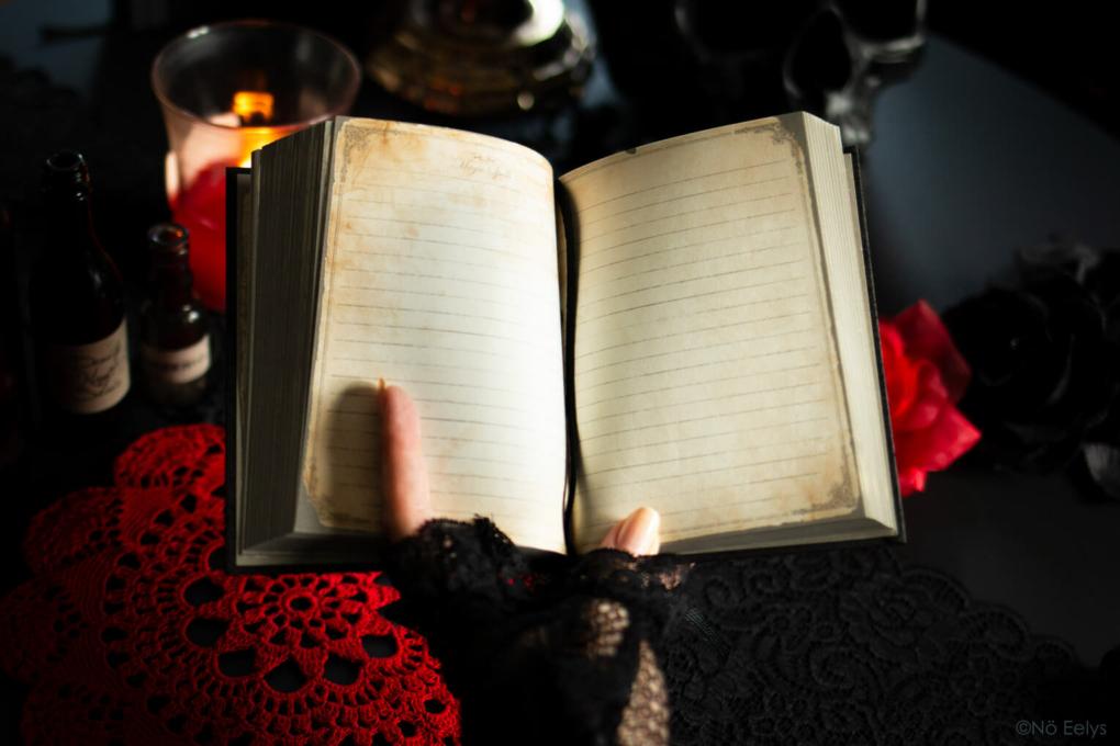 Petit carnet gothique romantique witchy noir et doré avec pages vieillies Magic Spells Tradition Notebook Curiositas paris