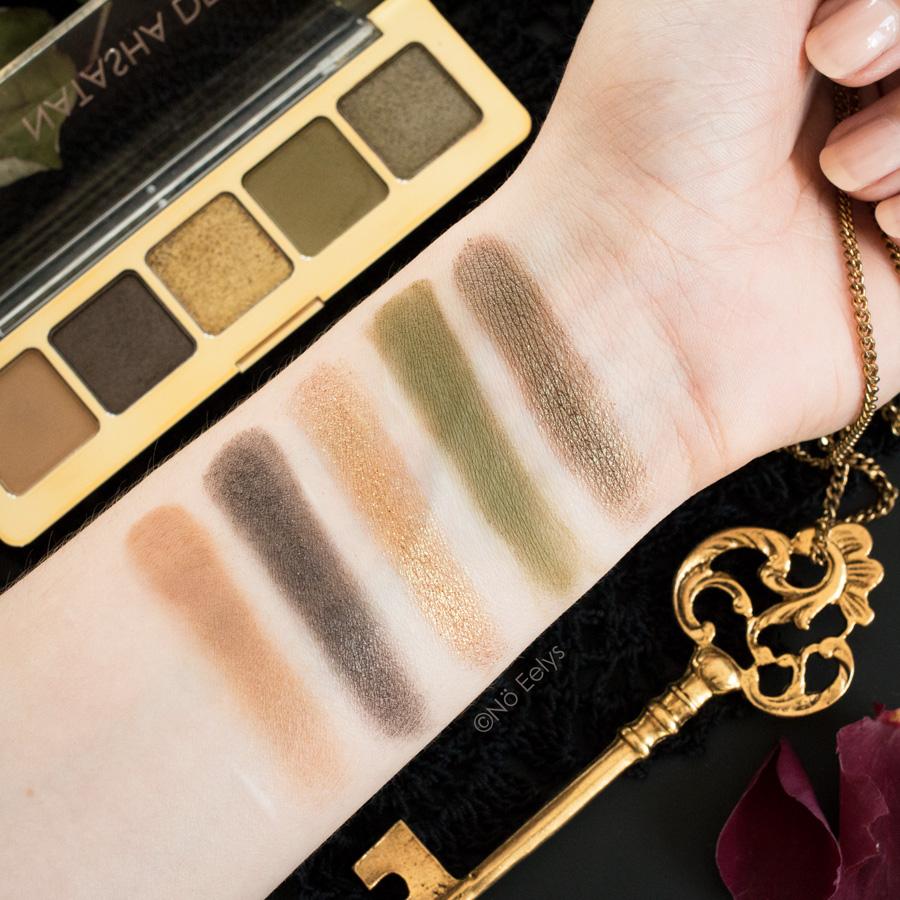 Swatchs de la Mini Gold palette Natasha Denona,, swatchs sur peau nue