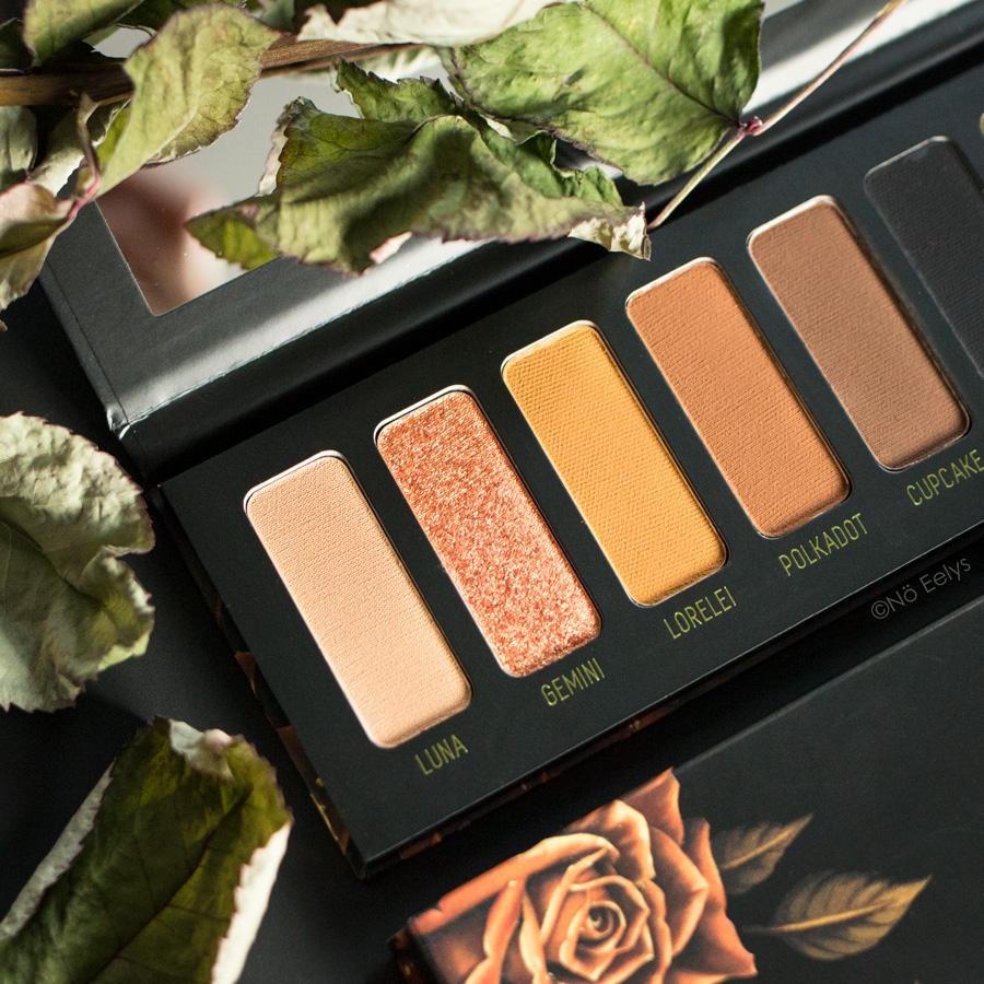 Zoom sur la palette Gemini Melt Cosmetics (photo des teintes orangées)