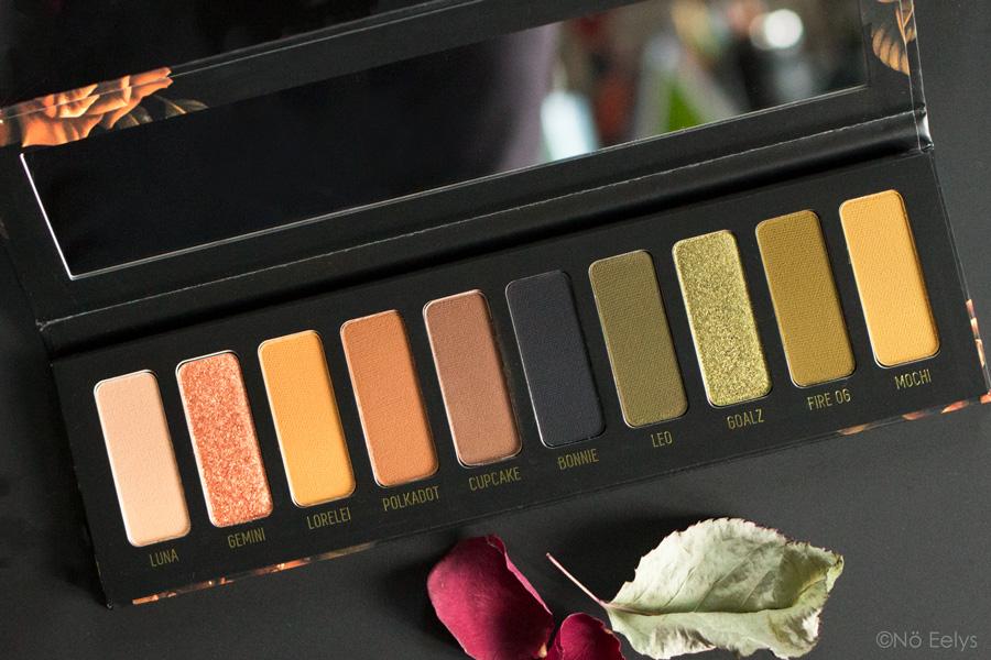 Zoom sur le packaging de la palette Gemini Melt Cosmetics (swatchs)