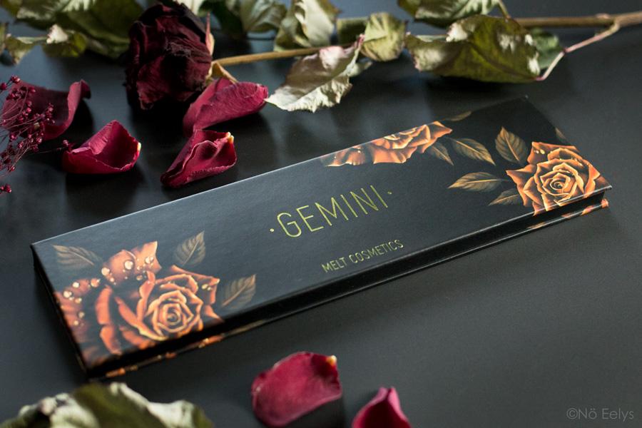 Zoom sur le packaging de la palette Gemini Melt Cosmetics