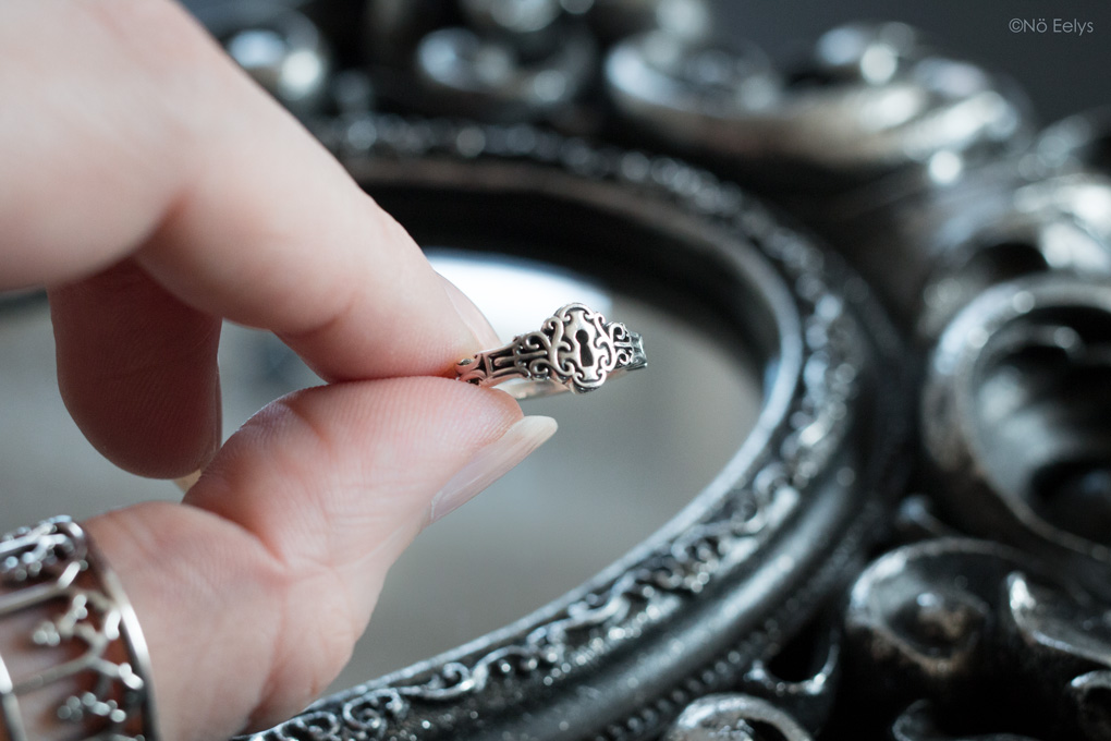 Bague Regalrose NO KEY Door Lock Silver Ring, bague gothique romantique serrure